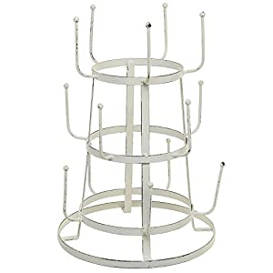 MyGift Vintage Distressed Off White Iron Mug / Cup / Glass Bottle Organizer Tree Drying Rack Stand