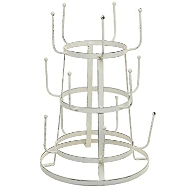MyGift® Vintage Distressed Off White Iron Mug / Cup / Glass Bottle Organizer Tree Drying Rack Stand