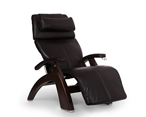 Perfect Chair Human Touch PC-420 Classic Manual PLUS Series 2 Dark Walnut Wood Base Zero-Gravity Recliner - Espresso Premium Leather