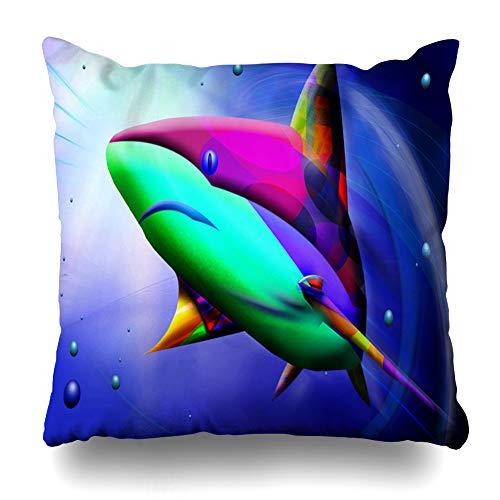 Ahawoso Throw Pillow Cover Tropical Blue Aquarium Abstract Shark Painting Aquatic Beach Bottom Bubbles Climate Design Home Decor Pillowcase Square Size 20
