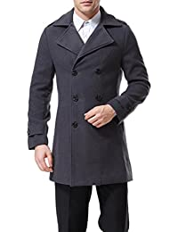 Mens Trenchcoat Double Breasted Overcoat Pea Coat Classic Wool Blend Slim Fit