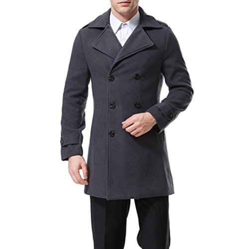 Men's Trenchcoat Double Breasted Overcoat Pea Coat Classic Wool Blend Slim Fit Grey