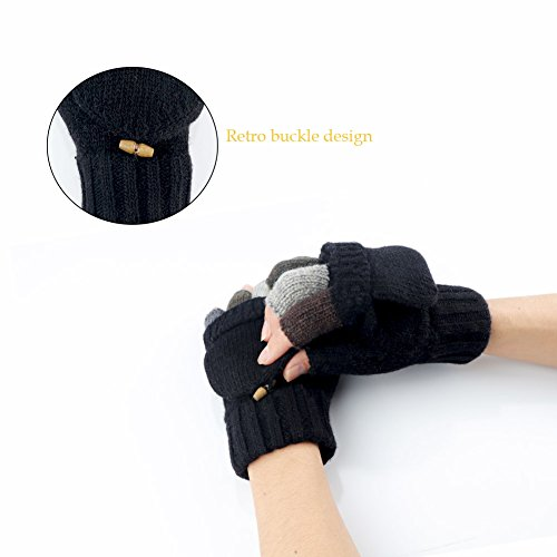 Knit Mittens Winter Gloves Wool Warm Gloves Fingerless Gloves with Mittens Cover Cap (Black) by Kay Boya (Image #3)