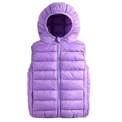 d39457ee62f8c Girls Lightweight Puffer Down Vest Packable Outdoor Hooded Down Jacket Vest  Kids Girls Cotton Winter Purple