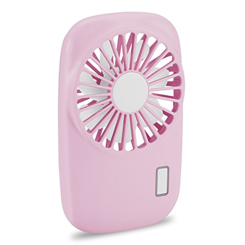 (Aluan Handheld Fan Mini Fan Powerful Small Personal Portable Fan Speed Adjustable USB Rechargeable Cooling for Kids Girls Woman Home Office Outdoor Travel, Pink)