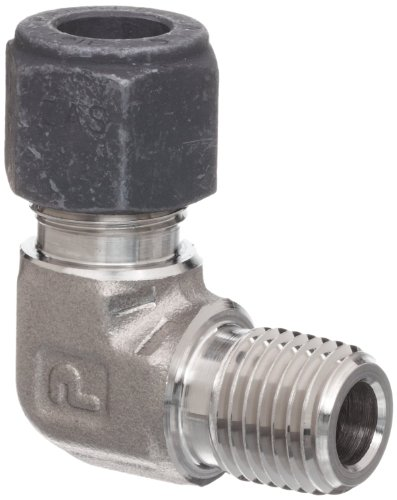 Elbow 0.375 Compression - Parker CPI 6-4 CBZ-SS 316 Stainless Steel Compression Tube Fitting, 90 Degree Elbow, 3/8