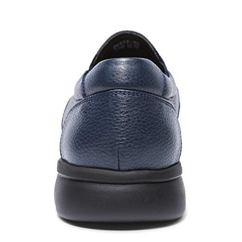Zro Mens Slip On Fashion Moc Toe In Pelle Scarpe Blu