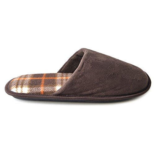 SlumberzzZ Men's Faux Suede Inner Check Lined Mule Slippers, Brown, Size UK 11/12