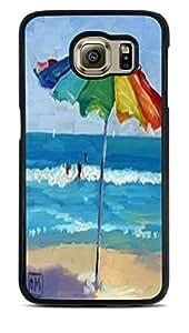 Colorful Beach Umbrella Black Silicone Case for Samsung Galaxy S6 by ruishername