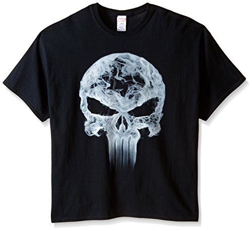 Marvel Men's Big-Tall Punisher Classic Logo Smoke T-Shirt, Black, XX-Large