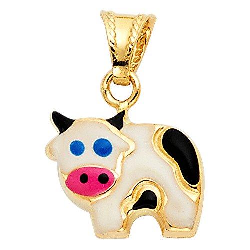 Wellingsale 14K Yellow Gold Polished Cow Enamel Charm Pendant - 14k Cow Pendant