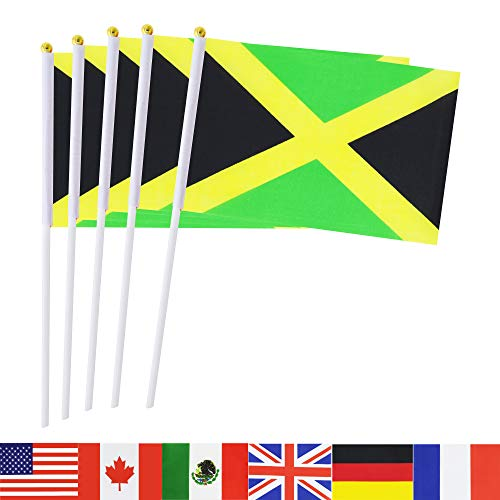 Jamaica Stick Flag,TSMD 50 Pack Hand Held Small Jamaican National Flags On Stick,International World Country Stick Flags Banners,Party Decorations For Olympics,Sports Clubs,Festival Events Celebration