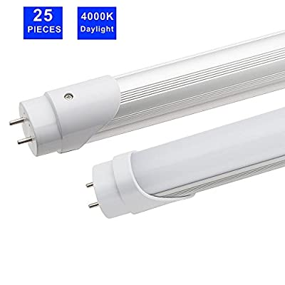 """(25 Pack) WHD Energy T8 LED Tube Light 4ft 48"""",22W, 4000K Daylight, 2,000 Lumens, Frosted Cover, Singal-End, Bypass Ballast Fluorescent Replacement Light Lamp"""