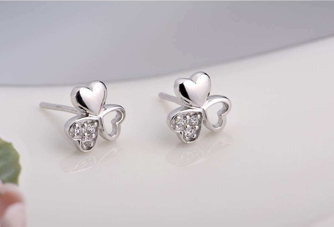 Fashion Girl Woman Jewelry Not Allergic Three Leaves Love Heart 925 Sterling Silver Stud Earrings