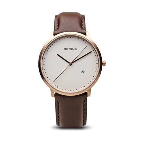 BERING Time 11139-564 Mens Classic Collection Watch with Calfskin Band and scratch resistant sapphire crystal. Designed in Denmark.