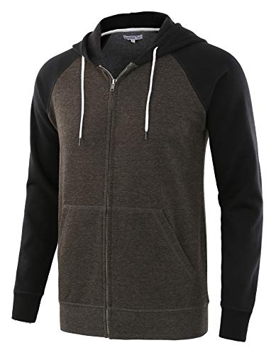 HARBETH Men's Athletic Fit Full Zip Fleece Hooded Sweatshirt Active Hoodie H.Charcoal/Black S
