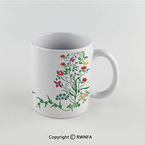 11oz Unique Present Mother Day Personalized Gifts Coffee Mug Tea Cup White Flower Decor,Oriental Design with Floral Leaves Buds Frame like Ivy Decor Natural Image,Multicolor Funny Ceramic Coffee Tea ()
