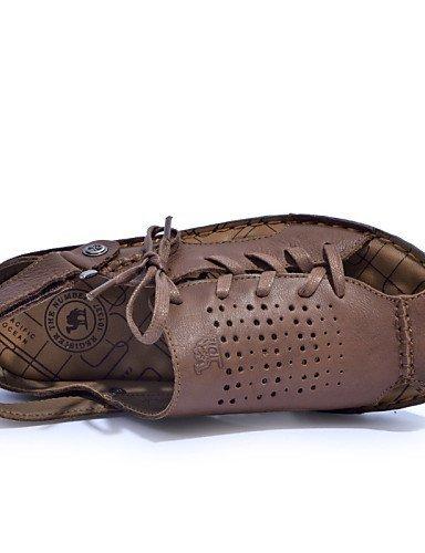 ShangYi Herren Sandaletten Herrenschuhe-Outddor / Lässig-Sandalen-Nappa Leather-Braun / Gelb / Burgund Brown