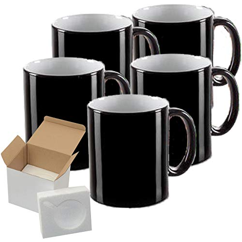 12 PCS Heat Sensitive Mug 11OZ Sublimation Blank Color Changing Coffee Mug Magic Coffee Cup Heat Changing mugs for Coffee Tea - Cardboard Box with Foam Supports Case of 12