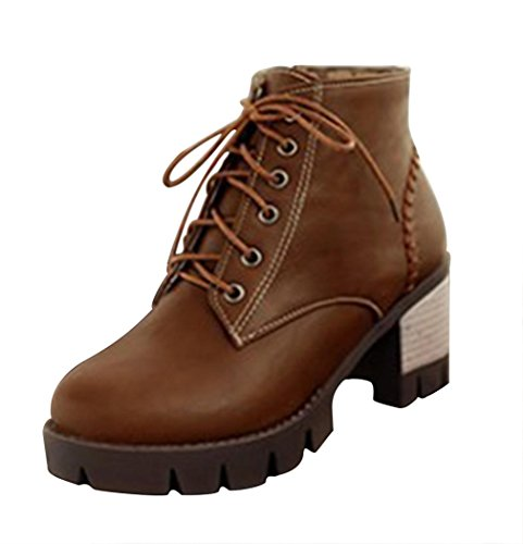 CAIHEE Womens Fashionable Lace Up Zipper Stacked Heels Ankle Booties