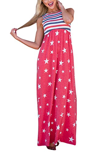 (Knight Horse Women Summer Casual Dress Plus Size American Flag Print Patriotic Sleeveless Casual T-Shirt Dress Red and Blue)