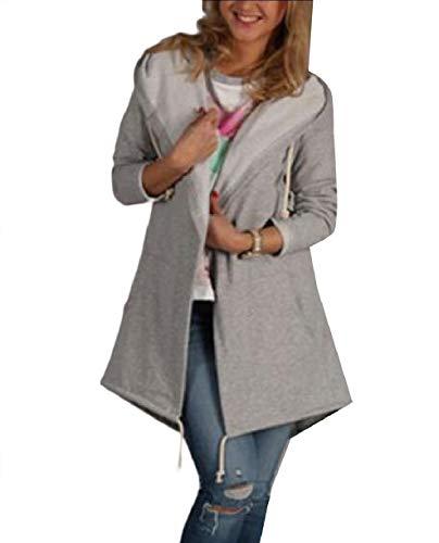 Howme-Women Skinny Fall Winter Hoode Cardigan Pure Color Coat Jacket Grey