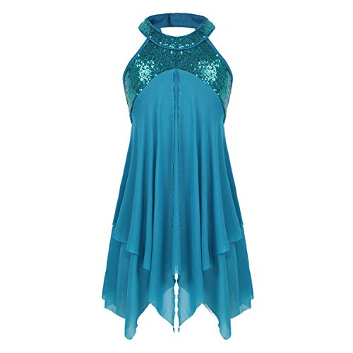 YiZYiF Girl's Lyrical Costume Sequins Halter Neck Dance Leotard with Asymmetrical Overlay Ruffles Turquoise 14