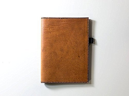 Leather Journal Case with Pockets and Pen Holder with Lined Paper Refillable Leather Cover of Natural Brown Color Full-Grain Horween Dublin Leather Personalized with Initials or Name Different Sizes Field Notes