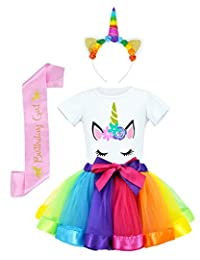 JiaDuo Girls Tutu Skirt with Unicorn Shirt, Headband & Satin Sash