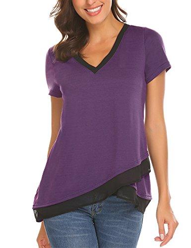 Mofavor Women's V Neck Loose Tee Shirt Short Sleeve Casual F