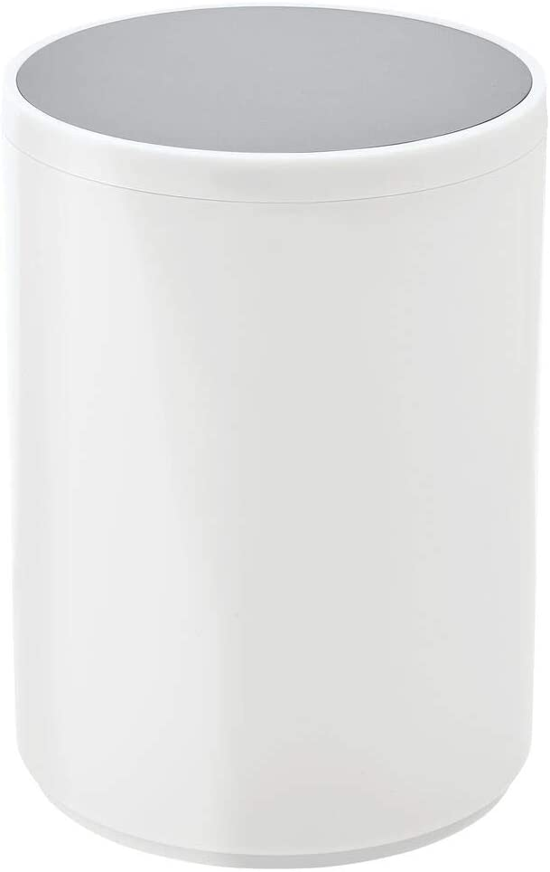 mDesign Round Swing Trash Can Wastebasket, Garbage Container Bin - for Bathroom, Powder Room, Bedroom, Kitchen, Craft Room, Office - Removable Liner Bucket - White/Gray