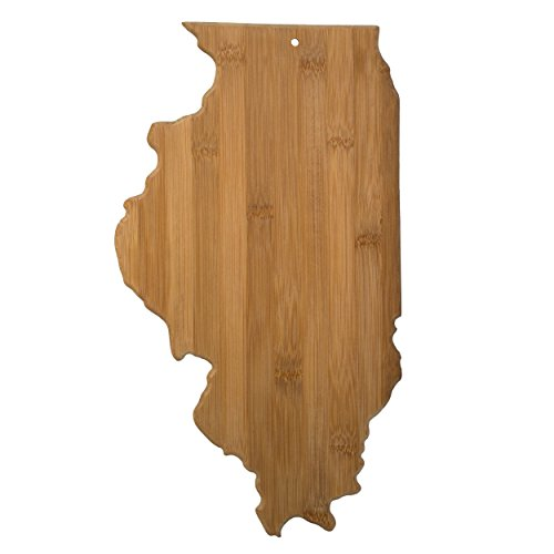 "Totally Bamboo State Cutting & Serving Board – ""ILLINOIS"", 100% Organic Bamboo Cutting Board for Cooking, Entertaining, Décor and Gifts. Designed in the USA!"