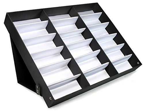 Edge I-Wear 18 pcs Sunglass Eyewear Display Storage Case Tray. Good for Jewelry & Watches. D-8ABLK