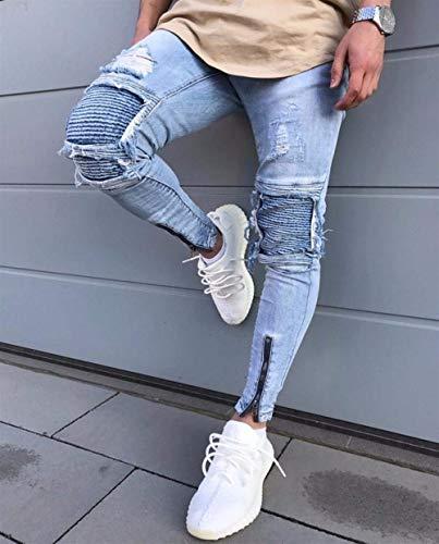 Taglio Especial Stretchy Blau Nn Pantaloni Fit 34 Da Aderenti Estilo Vintage Slim Blu Uomo Torn Jeans wtxtvSqY