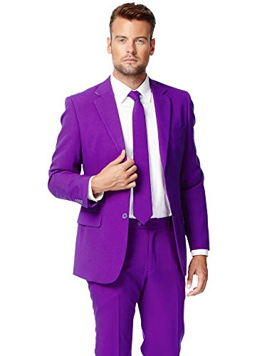 Opposuits Purple Prince Solid Purple Suit For Men Coming With Pants, Jacket and Tie, Purple Prince, US40