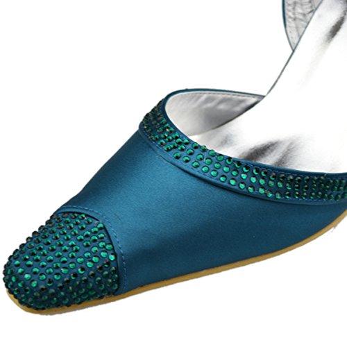 Minitoo - Zapatos destalonados de satén mujer verde - verde