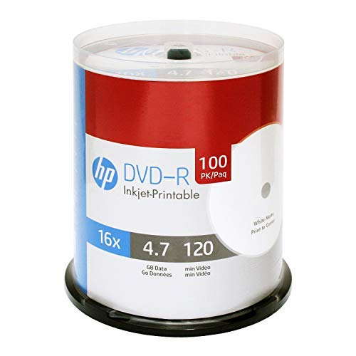 HP DVD-R 4.7GB 16X White Inkjet Printable 100 Pack in Spindle