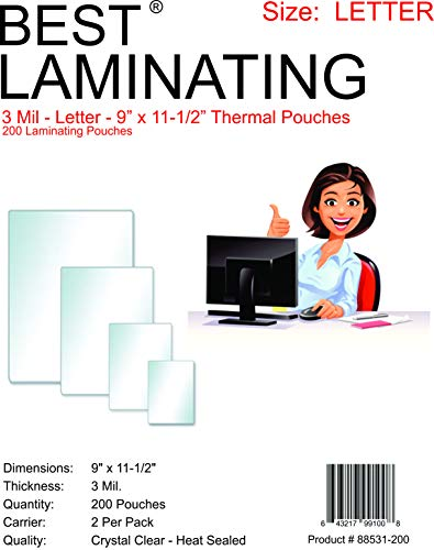 Best Laminating - 3 Mil Clear Letter Size Thermal Laminating Pouches - 9 X 11.5 (200 Pouches) 11 Pre Cut Pouch