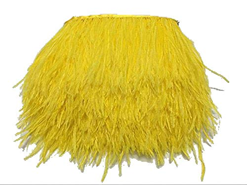 ADAMAI Natural Ostrich Feathers Trims Fringe DIY Dress Sewing Crafts Costumes Decoration Pack of 2 Yards (Yellow) ()