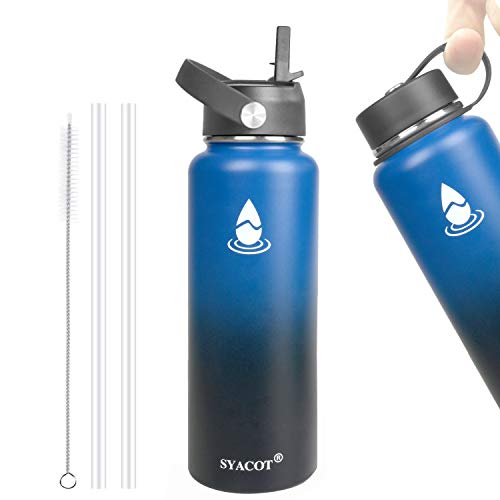 SYACOT 40 oz Stainless Steel Sports Water Bottle, Double Wall Vacuum Insulated Leak Proof —Wide Mouth with Straw Lid & Flex Cap