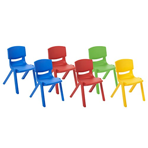 k Resin Chair, Indoor/Outdoor Plastic Stacking Chairs for Kids, 14 inch Seat Height, Assorted Colors (6-Pack) ()