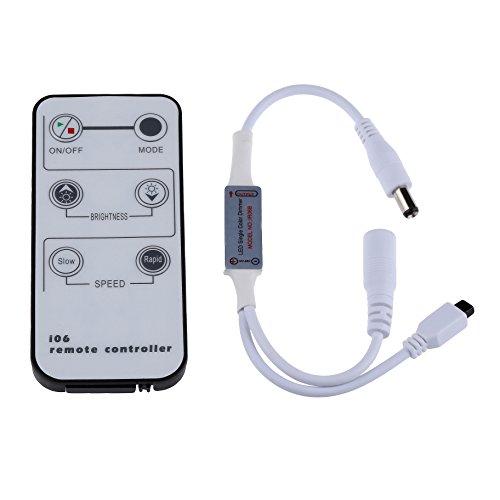LEDMO Mini Remote Controller for Single Color LED Strip lights, Wireless IR (Color Strip Mini Led)