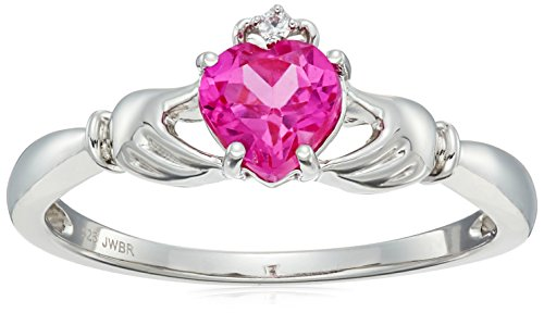 Sterling Silver Created Pink Sapphire Heart Shape Claddagh Ring, Size 7