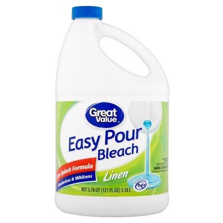Great Value Easy Pour Bleach, Linen Scent, 121 fl oz - Pack of 5