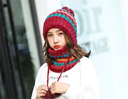 Aire Sets Knitting Wool al Bufanda XIANGMAI Warm Winter Wool Rojo Twinset Female Cap Winter Cap Mantiene Thick Fashion Libre Thermal Mujeres 7Pgq4B