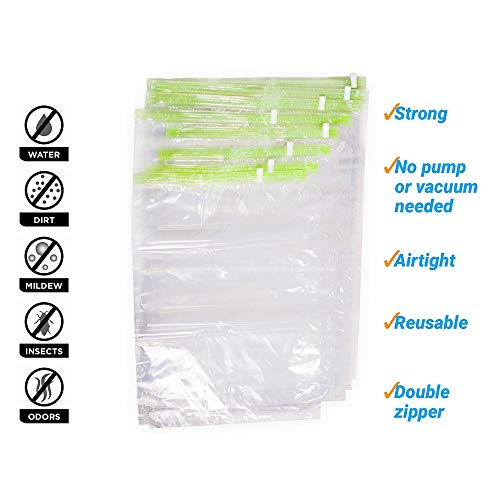 The Chestnut 12 Storage Space Saver Bags No Vacuum - Space Bags Compression for Travel Storage - Hand Roll Seal Vacuum Bags for Clothes - Clothing Small Storage Bags - Hand Roll (12 Bags)