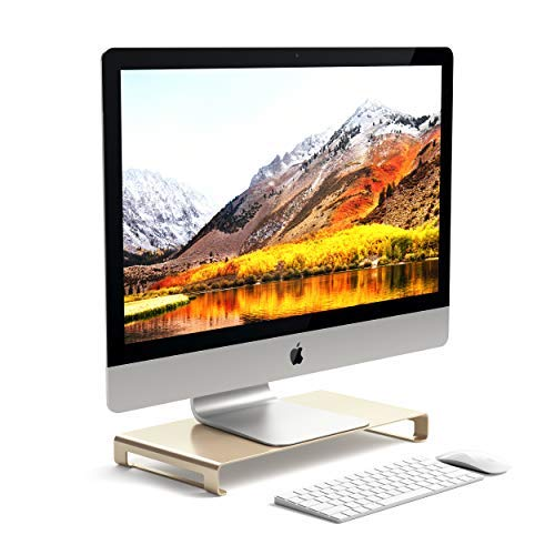 Satechi Aluminum Universal Unibody Monitor Stand – Compatible with 2017/2018 MacBook Pro, iMac Pro, Google Chromebook, Microsoft Surface, Dell, Asus and More (Gold)