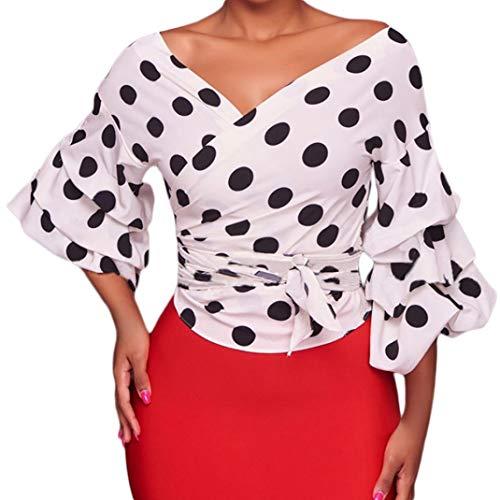 YANG-YI Clearance, HOT Women Long Puff Sleeve V-Neck Polka Dot Ruched Blouse Shirt with Belt (Linen Belt Silk)