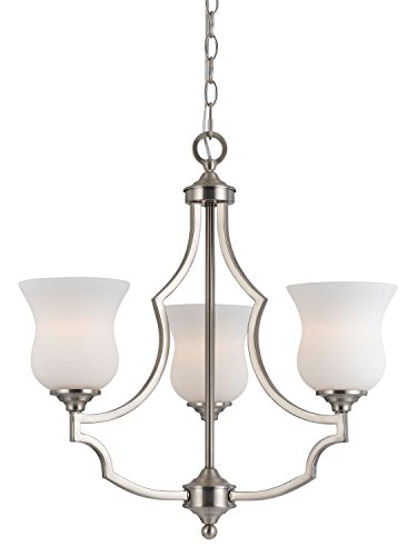 Cal Lighting FX-3531/3 Transitional Three Light Chandelier from Barrie Collection in Pwt, Nckl, B/S, Slvr. Finish, 22.00 inches