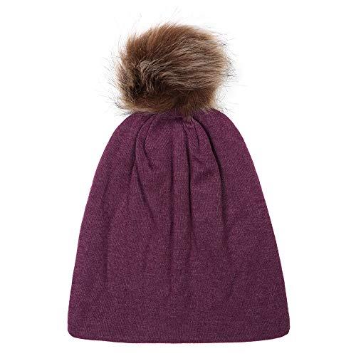 (Clearance,Cute Kids Boy Girl Winter Warm Knitted Wool Hats Keep Warm Winter Fur Ball (Purple))